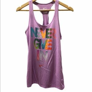 """NWT Nike Dri-Fit Athletic Tank Top """"Never Give In"""""""